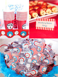 Cat In The Hat Party Decorations Cat In The Hat Inspired 3rd Birthday Party Food Game Diy