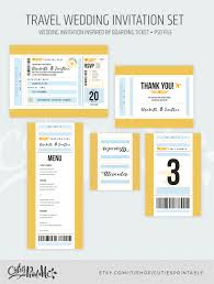 travel wedding invitation set boarding pass wedding