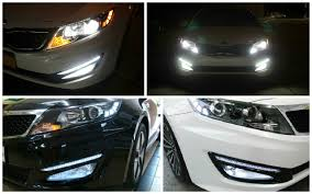 2013 kia optima led fog light bulb 2011 2013 kia optima led daytime running lights youtube