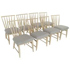 Teak Wood Dining Chairs Pair Of Eight Spindle Back Bleached Wood Dining Chairs For Sale At