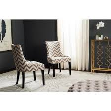 safavieh lester grey zebra cotton linen dining chair set of 2