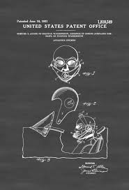 Aviation Home Decor Aviator U0027s Helmet Patent Aviation Blueprint Vintage Aviation Art