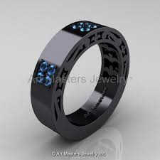 mens blue wedding bands mens modern vintage 14k black gold blue topaz wedding band r474m