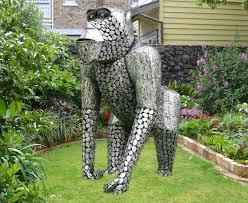 metal size gorilla silver garden sculptures ornaments