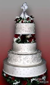 round silver u0026 red wedding cake cakecentral com