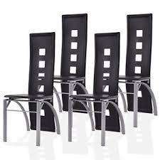 Black Dining Chairs Set Of 4 Black Dining Chairs W Open Spots Backrest Leather Dining