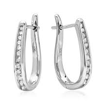 back diamond earrings ags certified 10k white gold flip back diamond hoop