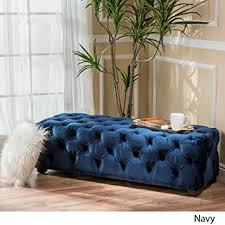 Black Velvet Tufted Bench Amazon Com Provence Navy Blue Tufted Velvet Fabric Rectangle
