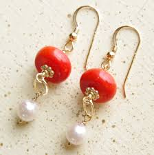 long pearl bead necklace images Coral pearl earrings dangle earrings red coral earrings jpg