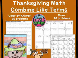 thanksgiving math combine like terms by gottaluvitcreations