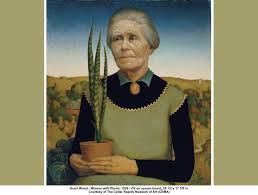 woman with plants grant wood 1929