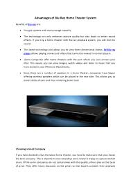 wireless blu ray home theater system advantages of blu ray home theater system