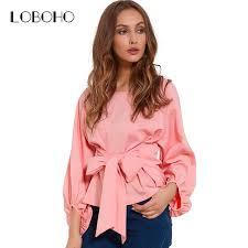 wrap shirts blouses chiffon wrap blouse shirts 2018 fashion lantern