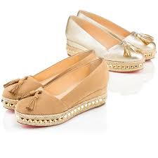 christian louboutin womens carmel ca leather wedges in sahara