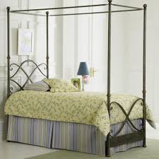 bedroom chrome stainless steel canopy bed having 4 poles using