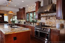 Cherry Wood Cabinets Kitchen Backsplash With Cherry Cabinets - Pictures of kitchens with cherry cabinets