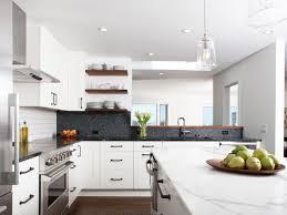 Modern Kitchen White Cabinets Kitchen Trendy White Modern Kitchen With Backsplash Also