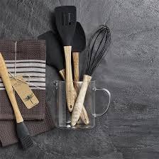 ustensile de cuisine en silicone ustensile de cuisine en olivier et silicone noir olive nordal
