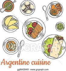 clipart cuisine vector stock bright national dishes of argentine cuisine sketch