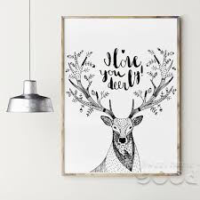 deer decor for home deer sketch canvas art print painting poster wall pictures for home