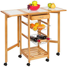 Folding Kitchen Island Cart Amazon Com Best Choice Products Portable Folding Tile Top Drop