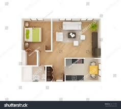 1 bedroom cottage floor plans simple 3d floor plan house top stock illustration 181117379