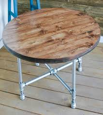 wood and pipe table reclaimed wood round coffee table with pipe legs home furniture