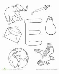 coloring e is for worksheet education com