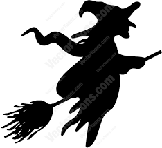 silhouette of a witch on a broom scary witch scary and witches