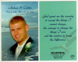 prayer cards for funeral tribute to andrew colditz