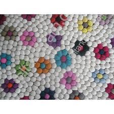 100 cm felt ball rug in floral design handmade felt ball rug from