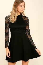 cute black dress long sleeve dress skater dress 57 00