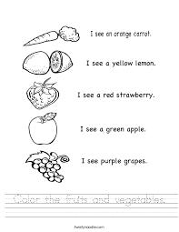 vegetable worksheets worksheets