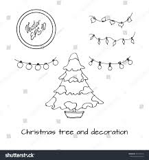 hand drawn sketch christmas tree covered stock vector 337164116