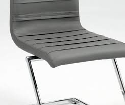Modern Black Leather Dining Chairs Contemporary Dark Grey Leather Dining Chair With Chrome Z Shape