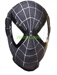 black spiderman hood with shiny metallic and mesh eyes