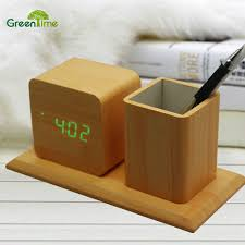 new design pen holder with creative led wood alarm clock hot pen holder student digital