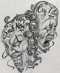 laugh now smile cry later evil satan skulls tattoos