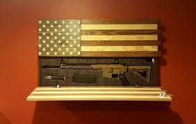 Made In China American Flags Ar 15 Size Gun Concealment Cabinet Rustic American Flag