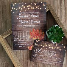 cheap rustic wooden string light jar fall wedding invites