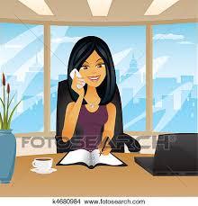 femme bureau clipart femme dans bureau téléphone k4680984 recherchez des