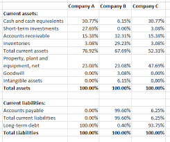 analyze a common size balance sheet income statement and other