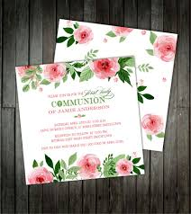 Holy Communion Invitation Cards Floral Watercolor Communion Invitations First Holy Communion