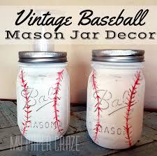 Mason Jar Bathroom Decor Vintage Baseball Mason Jar Bathroom Decor My Paper Craze