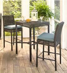 High Patio Table And Chairs Hampton Bay Fenton 3 Piece Wicker Outdoor Patio High Bar Bistro