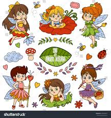 vector color set about little fairies stock vector 336640553