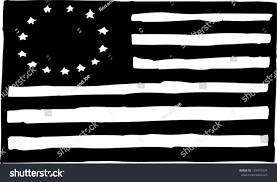 Betsy Ross Flags Black White Vector Illustration American Betsy Stock Vector