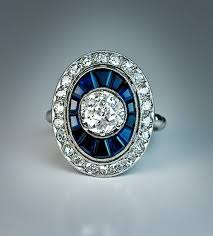 french art deco diamond sapphire engagement ring antique jewelry