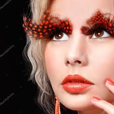 Make Up For Halloween Fashion Blonde Model With Long Orange Eyelashes Professional