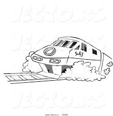 vector of a cartoon diesel tram outlined coloring page by